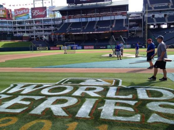 Field level view before batting practice (Photo: Rangers Twitter)