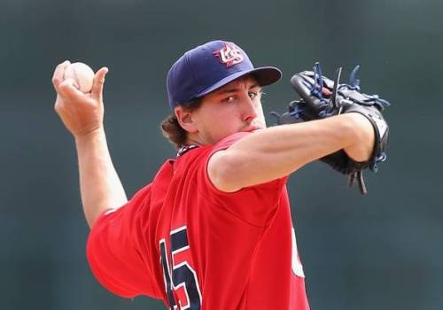 Pitching for Team USA, Derek Holland allowed a run over three innings yesterday in an exhibition game against the White Sox. (Christian Peterson/Getty Images)