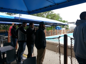 Some of the players watching the whales and listening to the trainers.