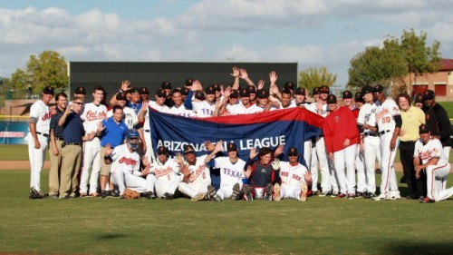 The 2013 Arizona Fall League champion Surprise Saguaros (Photo courtesy of Baseball America)