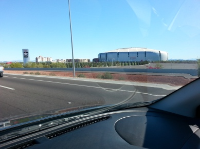 Driving past the home of the Arizona Cardinals and next year's Super Bowl in Glendale. Yeah I know, not very safe.