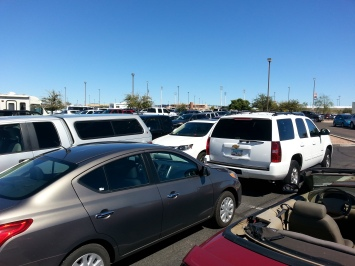 You can kind of see the Peoria Sports Complex somewhere in the distance from my parking spot.