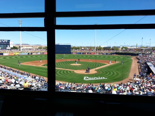 The view from the Peoria press box is fit for royalty as King Felix faces Prince Fielder.