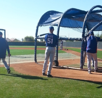 Alex Rios waits for his turn to hit during batting practice.