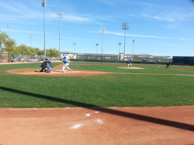 "Matt Harrison delivers to Eric Hosmer in the ""B"" game on Tuesday."