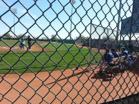 Greg and Mike Maddux get a good look at the pitchers along with the Royals coaches.