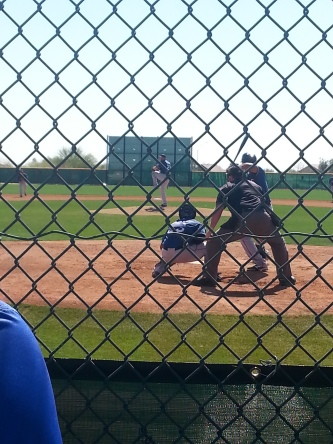 Alec Asher, a prospective 2014 'Rider, pitches to Nomar Mazara. Asher sat 94-95 with his fastball and looked sharp.