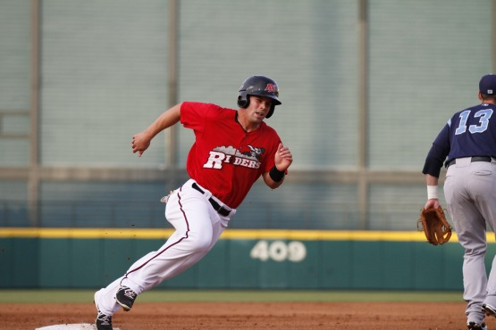 Jake Smolinski looks to keep running past the competition.