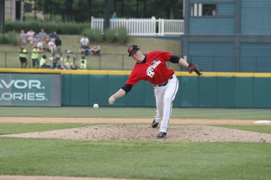 Rowen showcasing his distinct delivery during a 'Riders game in 2013.