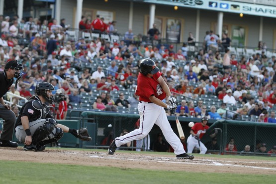 Wise batting against the San Antonio Missions.