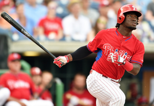 Odubel Herrera of the Philadelphia Phillies bats during a spring training game. (Photo by Ronald C. Modra /Sports Imagery/ Getty Images)