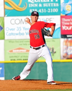 Sadzeck won 12 games for Class A Hickory in 2013. (Photo by Tracy Proffitt - Hickory Crawdads)